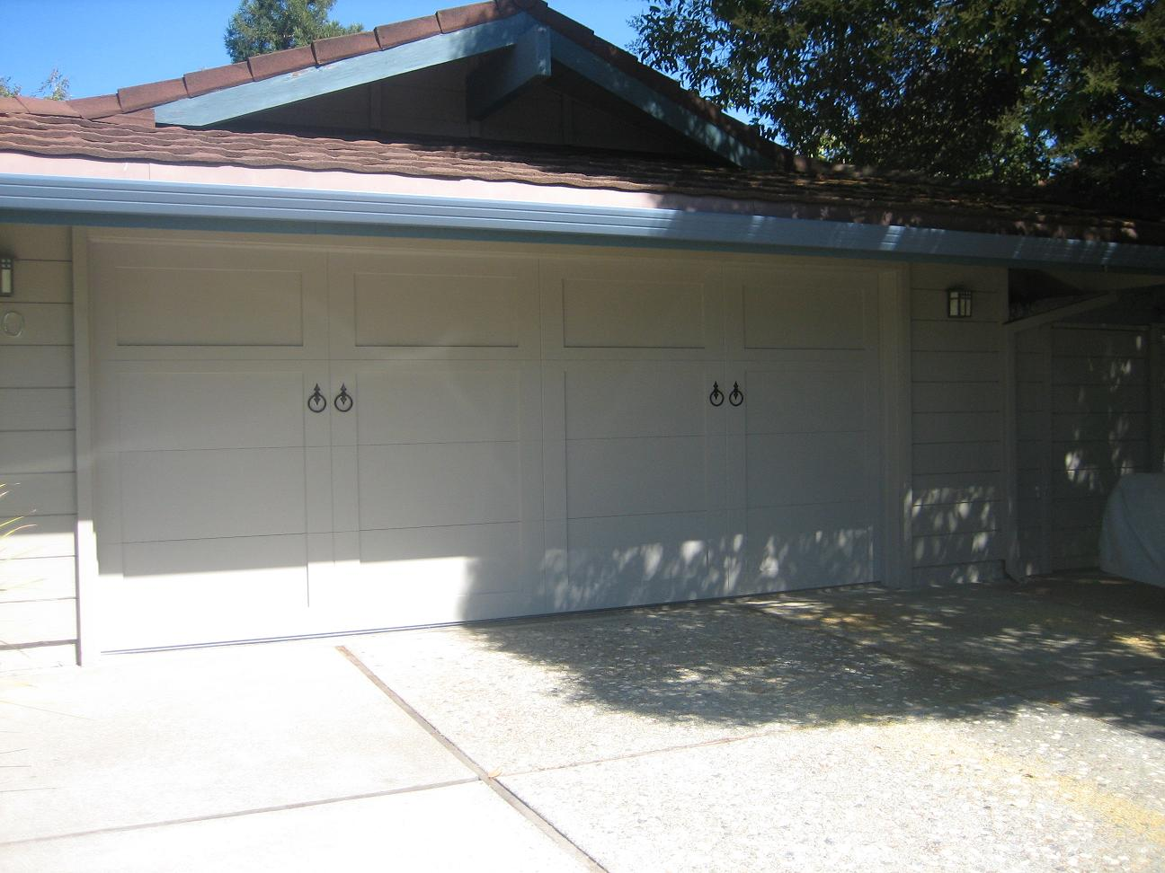 Steel Overlay Carriage Garage Doors. Steel Collection U2013 2 Car Solid Top U2013  With Ring Handle Hardware