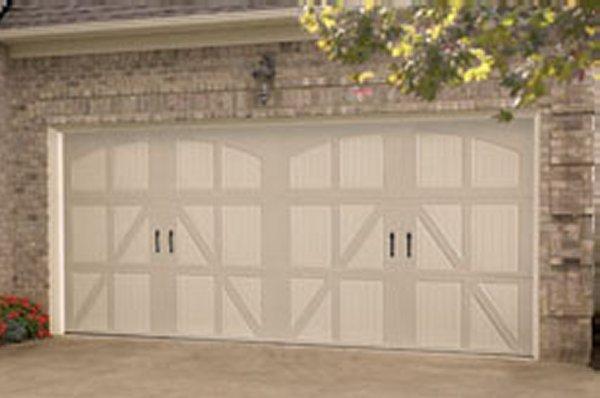 Affordable steel stamped overlay carriage garage doors for Brentwood garage door
