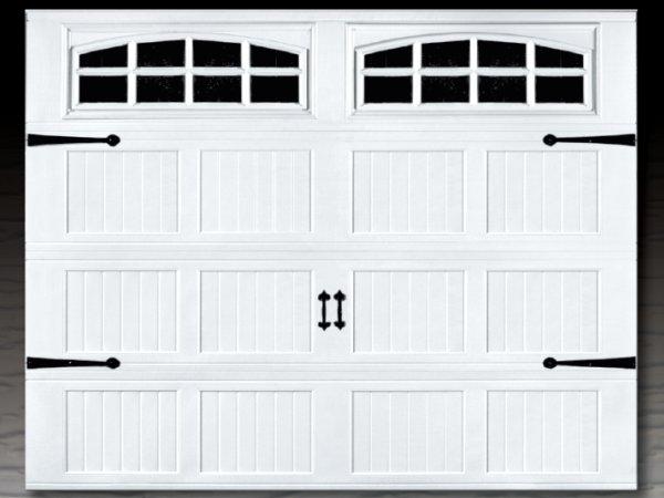 Affordable steel stamped overlay carriage garage doors for Garage door wood overlay